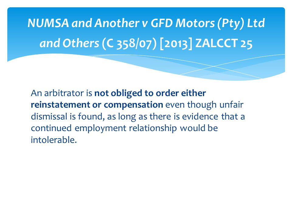 NUMSA and Another v GFD Motors (Pty) Ltd and Others (C 358/07) [2013] ZALCCT 25